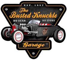 Busted Knuckle Garage Mechanic Rat Rod Metal Sign Man Cave Shop Club BUST124