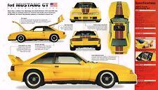 Ford MUSTANG GT Fox SPEC SHEET/ Brochure:1987,1988,....