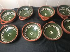 Bulgarian Pottery Troyan Terracotta Baking Serving 8 Bowls Hand Made by Monks