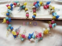 ART DECO VENETIAN  MURANO TUTTI FRUTTI TINY LOVE BIRDS VINTAGE GARLAND NECKLACE