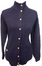 Vintage IZOD LACOSTE For Her Navy Blue Wool Cardigan Sweater - Small