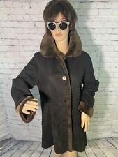 Stephanie Sarte 100% Genuine Shearling Black Coat Sz 10 EC Cond LUX✨