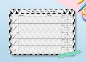 EYFS WEEKLY ACTIVITY PLANNER wipeable/ reusable, childminder teacher resource