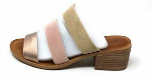 Lucky Brand Womens LK-Rileigh2 Strappy Slide Sandals Rose Combo Suede Size 8.5