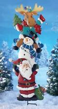 Christmas Santa, Snowman & Moose Lighted Garden Stake