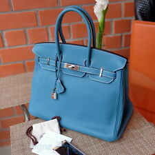 Rare HERMES Birkin 35cm BLUE JEAN Togo Palladium P 2012 brand new bag purse