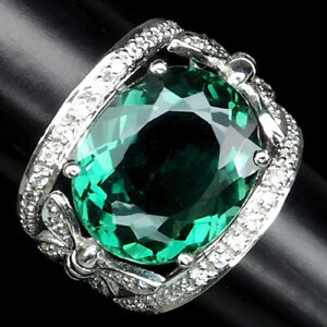 FOREST GREEN AMETHYST OVAL 13.10 CT. SAPPHIRE 925 STERLING SILVER RING SIZE 7
