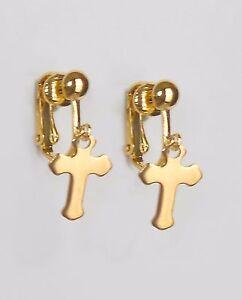 LITTLE GOLDEN CROSS - CLIP ON EARRINGS  (hook options)