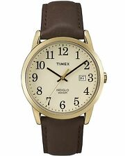 Timex TW2P75800, Men's Easy Reader Brown Leather Watch, Date, Indiglo