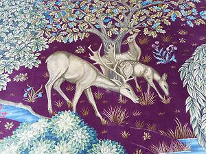 William Morris Curtain Fabric 'THE BROOK' 2 METRES (200cm) Tapestry Red - VELVET