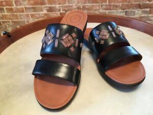 FitFlop Black Leather Delta Slide Crystal Jeweled Comfort Sandal 9 41 New
