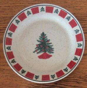 "6 Folk Craft Holiday Homecoming Stoneware 7.5"" Christmas Salad Plates"