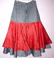 """AN' Exclusive Clothing designer OOAK jeans skirt sz 14/L waist 35"""" Flirty Long"""