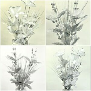Artificial Bunch Flowers Stem Shoot Sparkle silver White Romany Glitter Xmas