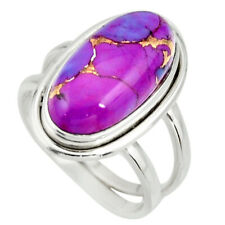 6.48cts Purple Copper Turquoise 925 Silver Solitaire Ring Size 7.5 R27191