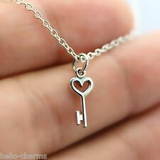 KEY TO MY HEART NECKLACE - 925 Sterling Silver - Love Key Charm Jewelry Skeleton