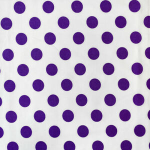 """Polka Dot Large (2cm) Printed Fabric White Back 100% Cotton 58/60"""" Wide Sold BTY"""