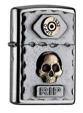 Zippo Lighter ● Vintage Rip Skull Kreuz Emblem ● 2004748 ● Neu New OVP ● A45