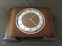 Vintage Art Deco Bentwood Mantel Clock Two Florin Weekly 1930's Working