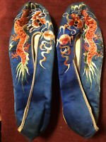 Rare Antique Silk Embroidered Chinese Asian Oriental Dragon Slippers