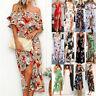 Boho Womens Holiday Sleeveless Floral Lady Summer Beach Party Long Maxi Dress UK