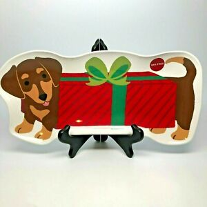 """Dachshund Christmas Serving Tray Melamine 14"""" Doxie Shaped for Weiner Dog Lovers"""