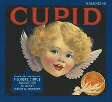 "RARE OLD ORIGINAL 1920'S GOD OF LOVE ""CUPID BRAND"" BOX LABEL FILLMORE CALIFORNIA"