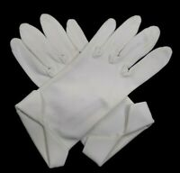 1950s Vintage Womens White Nylon Wrist Length Dress Gloves Turned Cuff Sz M 7908