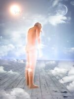 """perfect 24x36 oil painting handpainted on canvas""""a naked man in the sky""""@2411"""