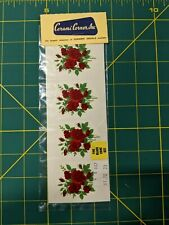 """Vintage New In Package Ceramic Water Slide Decals 4 Small Rose Decals 2.5""""x1.5"""""""