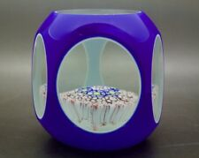 """Murano Facet Blue Overlay Concentric Millefiori Glass Paperweight, Apr 4""""Wx3.5""""H"""