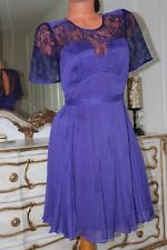 WHISTLES semi sheer pleated fully lined purple dress  size 8