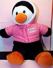 "Dan Dee 13"" Plush Penguin Wearing Pink Coat Santa's Helper Stuffed Animal"