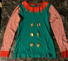 Adult Christmas Elf Costume Pajamas Nightwear Set Size Small Good Conditions