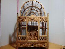 "Vintage Ornate Handmade Hand Carved Wood Bird Cage 28"" x 17"" x 12"""