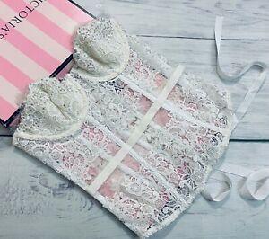 Victoria's Secret DESIGNER COLLECTION CORSET WHITE BRIDAL SWAROVSKI CRYSTALS