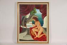 Weiblicher Akt Göttin mit Adler Ölgemälde signiert FRANKE 1976 (BG9502)