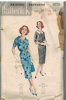 8576 Vintage Butterick SEWING Pattern Misses Scoop Neck Spectator Dress Buttons