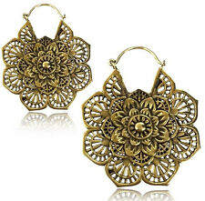 "PAIR 18g (1MM) MANDALA FLOWER 2"" INCH POLISHED BRASS PLUGS EARRINGS GAUGES"