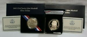 2005 Chief Justice John Marshall Silver Dollar 2 Piece Set OGP COA From Estate
