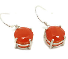 Carnelian faceted round drop earrings, solid Sterling Silver, actual ones. 🇬🇧