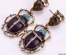New Insect Beetle Scarab Statement Earrings Purple with Rhinestones and Crystals
