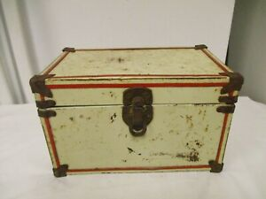 Older Salesman Sample or Toy Doll Trunk=White metal, red Trim, AS IS