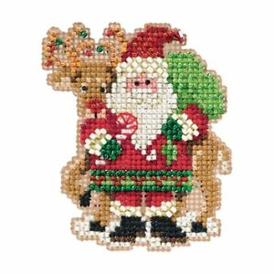 Santa and Rudolph Beaded Ornament Kit Mill Hill 2012 Winter Holiday