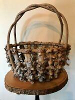 """Vintage Hand Made Basket Primitive Folk Native Knotted Wood VGC 10 x 13 x 14"""""""
