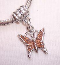 Orange Brown Enamel Butterfly Bug Dangle Bead for Silver European Charm Bracelet
