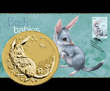 2011 $1 Bush Babies Bilby Coin and Stamp Cover PNC