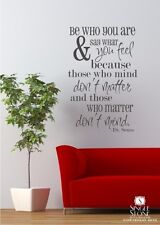 Dr. Seuss Wall Decal Quote  Be Who You Are - Vinyl Sticker Art