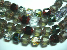 25 Mixed Gray Black Marea Crystal Firepolished Cathedral Czech Glass 8mm beads