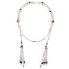 Collier Doré Long Echarpe Sautoir Perle Multicolore Pompon Fin Retro AMN1